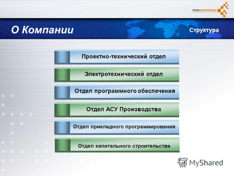 Проектно-технический отделЭлектротехнический отдел Отдел программного обеспечения Отдел АСУ Производства Отдел прикладного программирования Отдел капитального строительства О Компании Структура