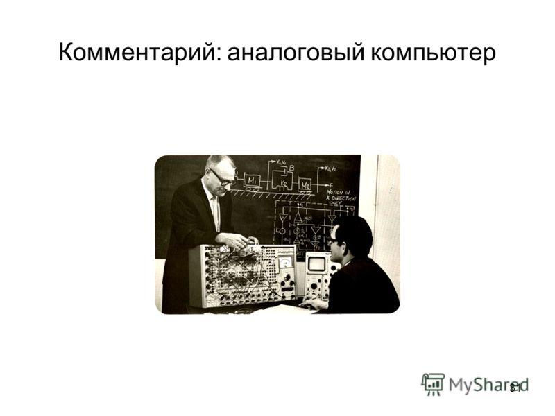 31 Комментарий: аналоговый компьютер