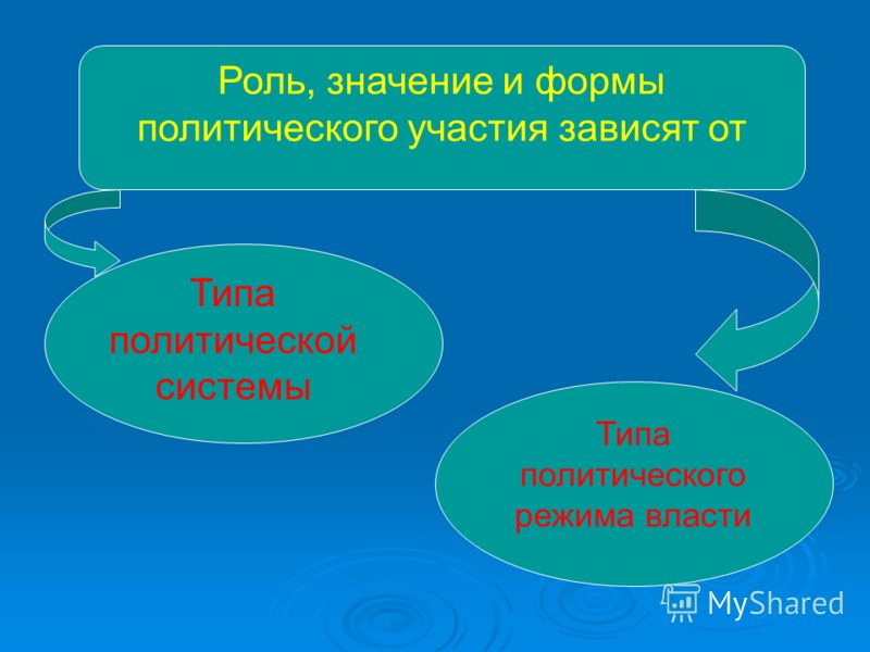 Роль, значение и формы политического участия зависят от Типа политической системы Типа политического режима власти