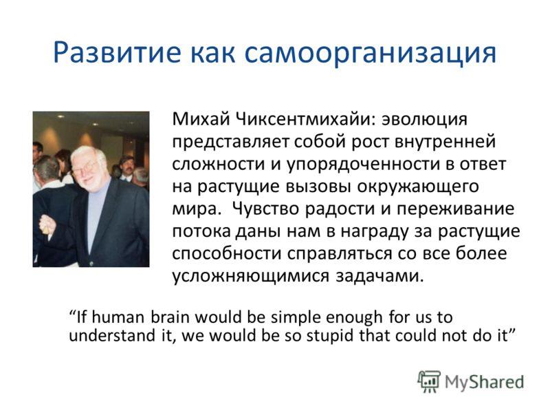 Развитие как самоорганизация If human brain would be simple enough for us to understand it, we would be so stupid that could not do it Михай Чиксентмихайи: эволюция представляет собой рост внутренней сложности и упорядоченности в ответ на растущие вы
