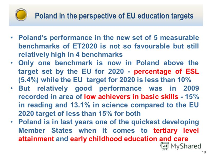 10 Poland in the perspective of EU education targets Polands performance in the new set of 5 measurable benchmarks of ET2020 is not so favourable but still relatively high in 4 benchmarks Only one benchmark is now in Poland above the target set by th
