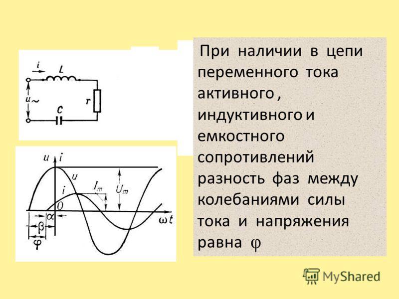 При наличии в цепи переменного тока активного, индуктивного и емкостного сопротивлений разность фаз между колебаниями силы тока и напряжения равна