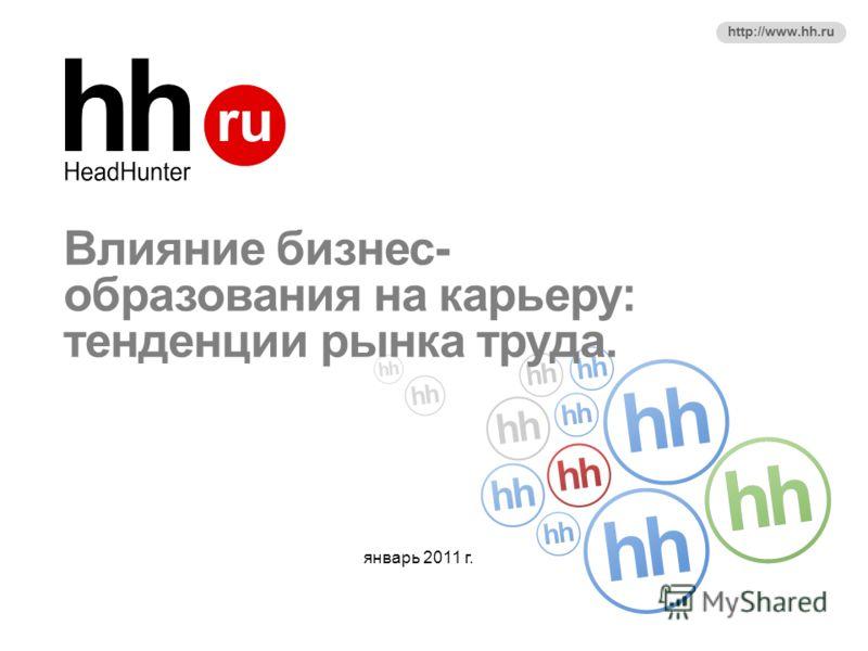 http://www.hh.ru Влияние бизнес- образования на карьеру: тенденции рынка труда. январь 2011 г.