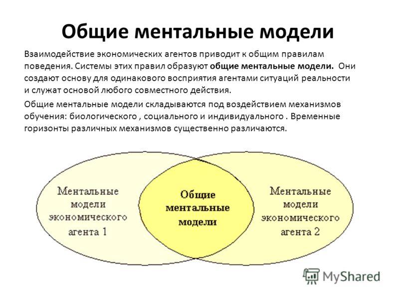 Общие ментальные модели Взаимодействие экономических агентов приводит к общим правилам поведения. Системы этих правил образуют общие ментальные модели. Они создают основу для одинакового восприятия агентами ситуаций реальности и служат основой любого