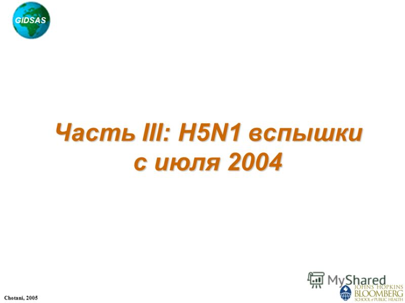 GIDSAS Chotani, 2005 Часть III: H5N1 вспышки с июля 2004