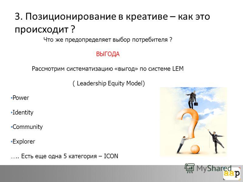 3. Позиционирование в креативе – как это происходит ? Что же предопределяет выбор потребителя ? ВЫГОДА Рассмотрим систематизацию «выгод» по системе LEM ( Leadership Equity Model) Power Identity Community Explorer ….. Есть еще одна 5 категория – ICON