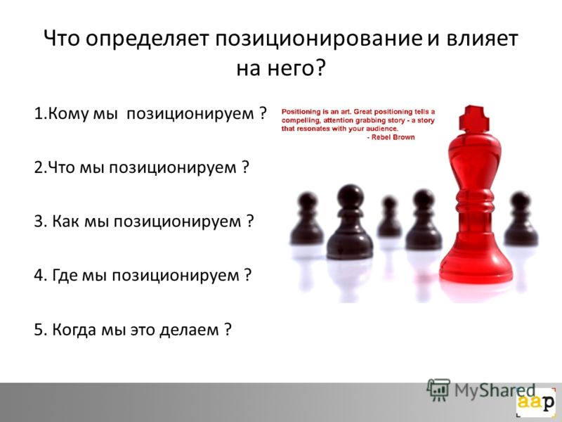 Что определяет позиционирование и влияет на него? 1.Кому мы позиционируем ? 2.Что мы позиционируем ? 3. Как мы позиционируем ? 4. Где мы позиционируем ? 5. Когда мы это делаем ?