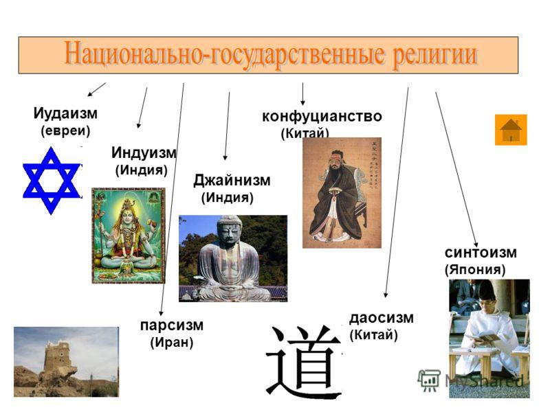 парсизм (Иран) Иудаизм (евреи) Индуизм (Индия) Джайнизм (Индия) конфуцианство (Китай) синтоизм (Япония) даосизм (Китай)