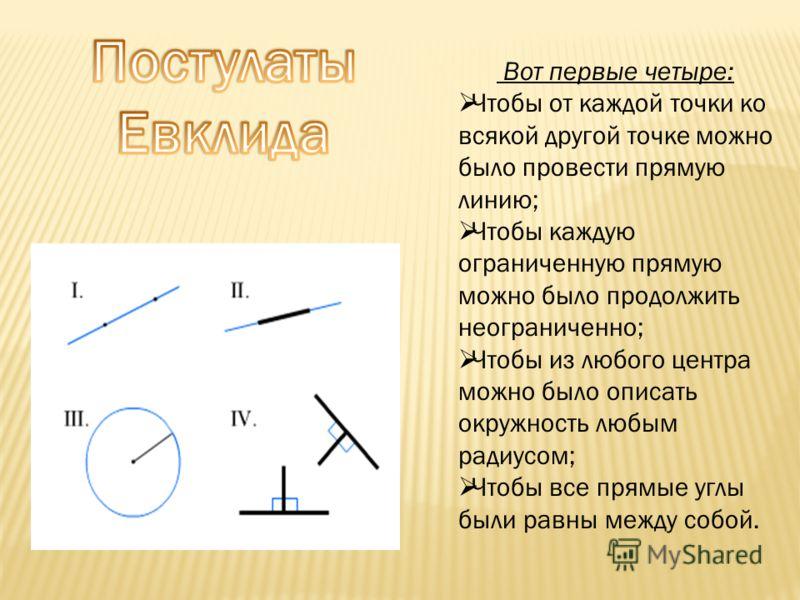 Вот первые четыре: Чтобы от каждой точки ко всякой другой точке можно было провести прямую линию; Чтобы каждую ограниченную прямую можно было продолжить неограниченно; Чтобы из любого центра можно было описать окружность любым радиусом; Чтобы все пря