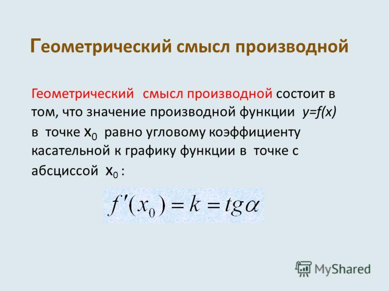 Г еометрический смысл производной Геометрический смысл производной состоит в том, что значение производной функции y=f(x) в точке x 0 равно угловому коэффициенту касательной к графику функции в точке с абсциссой x 0 :