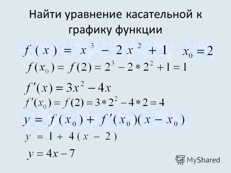 Найти уравнение касательной к графику функции
