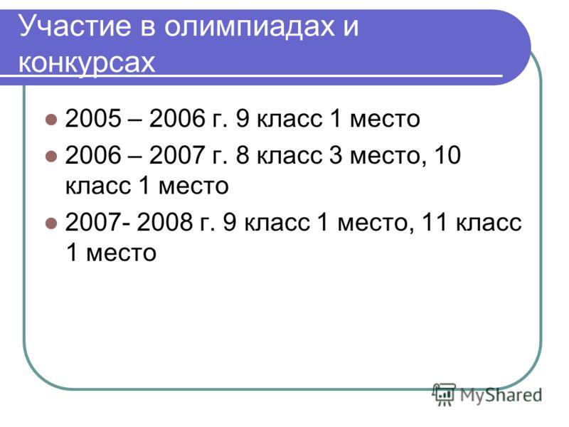Участие в олимпиадах и конкурсах 2005 – 2006 г. 9 класс 1 место 2006 – 2007 г. 8 класс 3 место, 10 класс 1 место 2007- 2008 г. 9 класс 1 место, 11 класс 1 место