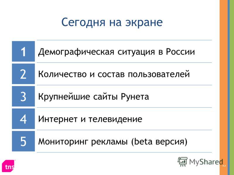 Сегодня на экране 1 Демографическая ситуация в России 2 Количество и состав пользователей 3 Крупнейшие сайты Рунета 4 Интернет и телевидение 5 Мониторинг рекламы (beta версия) 2
