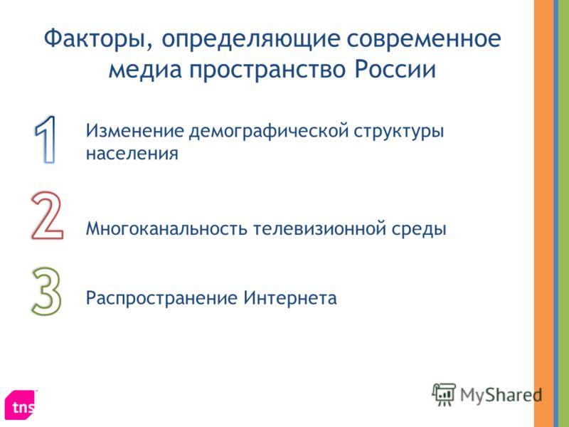 Факторы, определяющие современное медиа пространство России Изменение демографической структуры населения Многоканальность телевизионной среды Распространение Интернета