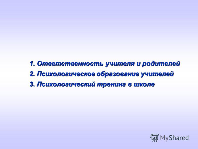 1.Ответственность учителя и родителей 2.Психологическое образование учителей 3.Психологический тренинг в школе