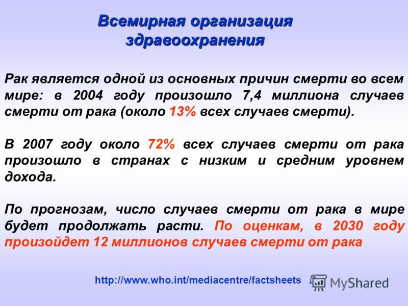 Рак является одной из основных причин смерти во всем мире: в 2004 году произошло 7,4 миллиона случаев смерти от рака (около 13% всех случаев смерти). В 2007 году около 72% всех случаев смерти от рака произошло в странах с низким и средним уровнем дох