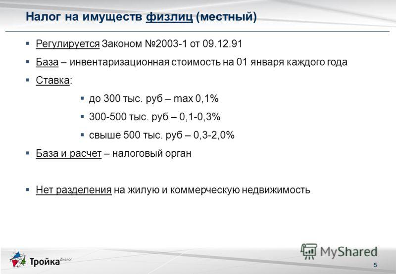5 Регулируется Законом 2003-1 от 09.12.91 База – инвентаризационная стоимость на 01 января каждого года Ставка: до 300 тыс. руб – max 0,1% 300-500 тыс. руб – 0,1-0,3% свыше 500 тыс. руб – 0,3-2,0% База и расчет – налоговый орган Нет разделения на жил