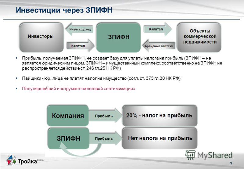 7 Прибыль, получаемая ЗПИФН, не создает базу для уплаты налога на прибыль (ЗПИФН – не является юридическим лицом, ЗПИФН – имущественный комплекс, соответственно на ЗПИФН не распространяется действие ст. 246 гл.25 НК РФ) Пайщики - юр. лица не платят н