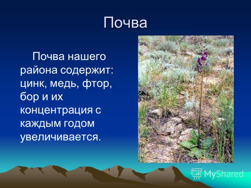 Почва Почва нашего района содержит: цинк, медь, фтор, бор и их концентрация с каждым годом увеличивается.