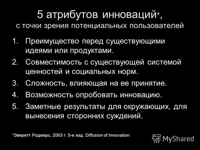 5 атрибутов инноваций *, с точки зрения потенциальных пользователей 1.Преимущество перед существующими идеями или продуктами. 2.Совместимость с существующей системой ценностей и социальных норм. 3.Сложность, влияющая на ее принятие. 4.Возможность опр