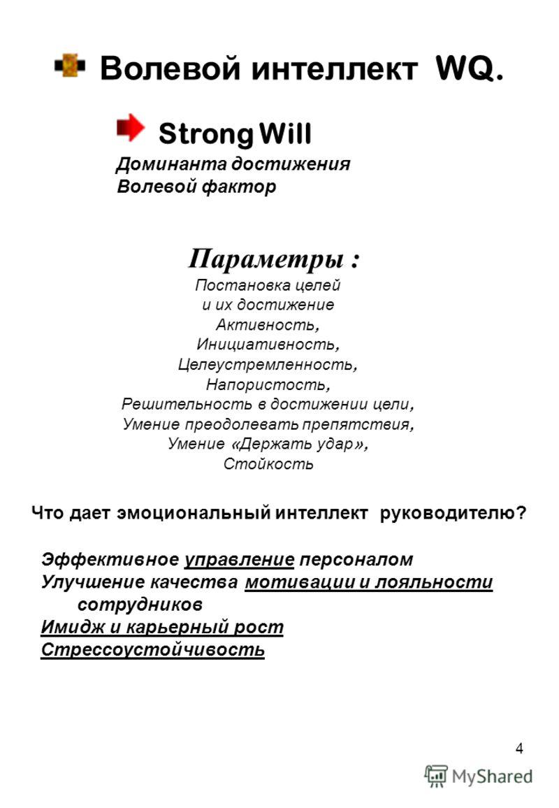4 Волевой интеллект WQ. Параметры : Постановка целей и их достижение Активность, Инициативность, Целеустремленность, Напористость, Решительность в достижении цели, Умение преодолевать препятствия, Умение « Держать удар », Стойкость Strong Will Домина