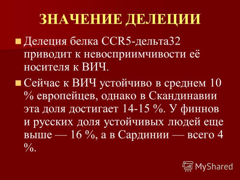 ЗНАЧЕНИЕ ДЕЛЕЦИИ Делеция белка CCR5-дельта32 приводит к невосприимчивости её носителя к ВИЧ. Сейчас к ВИЧ устойчиво в среднем 10 % европейцев, однако в Скандинавии эта доля достигает 14-15 %. У финнов и русских доля устойчивых людей еще выше 16 %, а