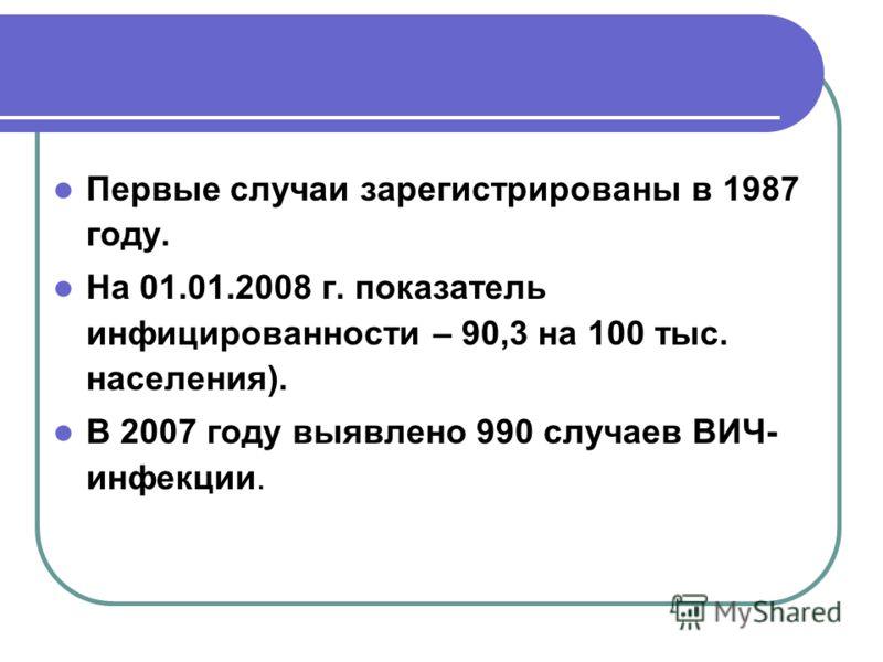 Первые случаи зарегистрированы в 1987 году. На 01.01.2008 г. показатель инфицированности – 90,3 на 100 тыс. населения). В 2007 году выявлено 990 случаев ВИЧ- инфекции.