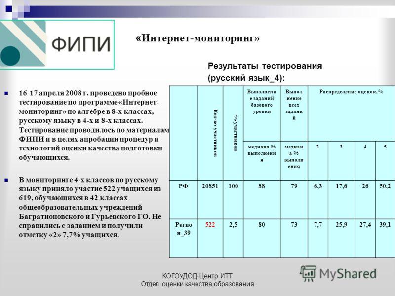 КОГОУДОД-Центр ИТТ Отдел оценки качества образования « Интернет-мониторинг» 16-17 апреля 2008 г. проведено пробное тестирование по программе «Интернет- мониторинг» по алгебре в 8-х классах, русскому языку в 4-х и 8-х классах. Тестирование проводилось