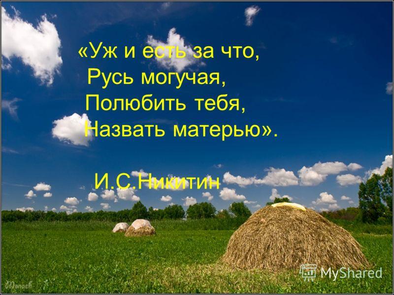 «Уж и есть за что, Русь могучая, Полюбить тебя, Назвать матерью». И.С.Никитин