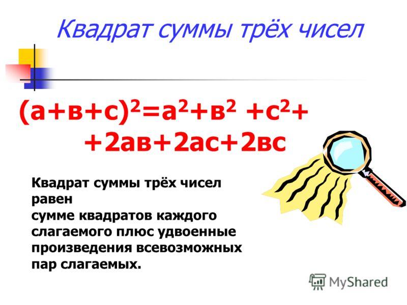Квадрат суммы трёх чисел (а+в+с) 2 =а 2 +в 2 +с 2 + +2ав+2ас+2вс Квадрат суммы трёх чисел равен сумме квадратов каждого слагаемого плюс удвоенные произведения всевозможных пар слагаемых.