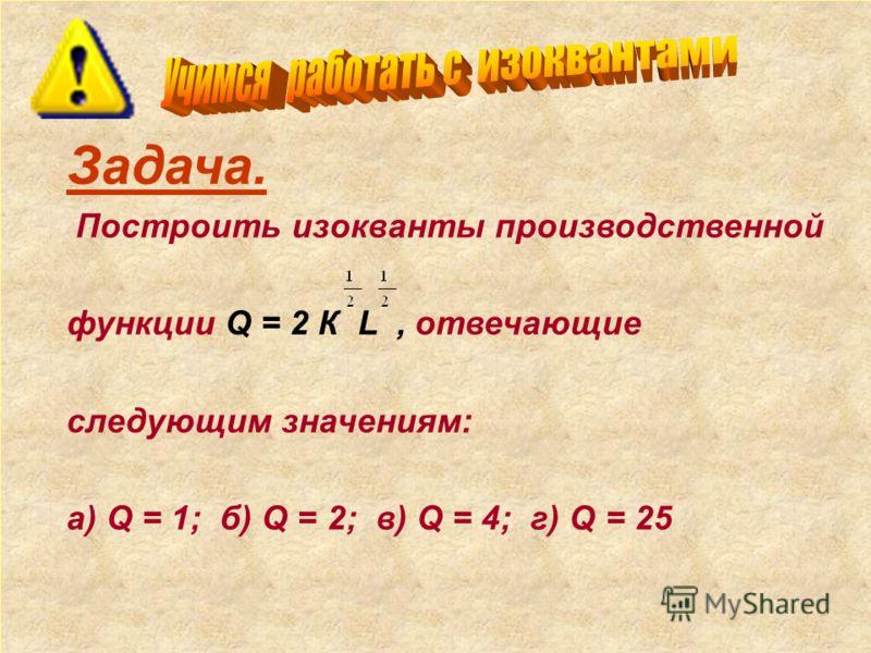 Задача. Построить изокванты производственной функции Q = 2 К L, отвечающие следующим значениям: а) Q = 1; б) Q = 2; в) Q = 4; г) Q = 25