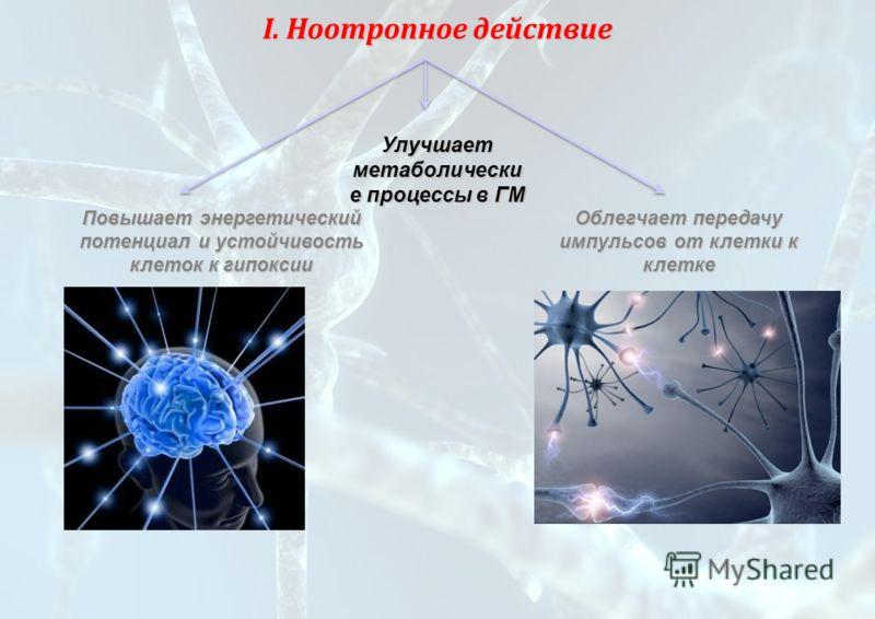 Улучшает метаболически е процессы в ГМ Повышает энергетический потенциал и устойчивость клеток к гипоксии I. Ноотропное действие Облегчает передачу импульсов от клетки к клетке