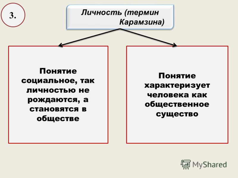 3. Личность (термин Карамзина) Личность (термин Карамзина) Понятие социальное, так личностью не рождаются, а становятся в обществе Понятие характеризует человека как общественное существо