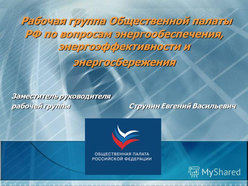 Рабочая группа Общественной палаты РФ по вопросам энергообеспечения, энергоэффективности и энергосбережения Рабочая группа Общественной палаты РФ по вопросам энергообеспечения, энергоэффективности и энергосбережения Заместитель руководителя Заместите