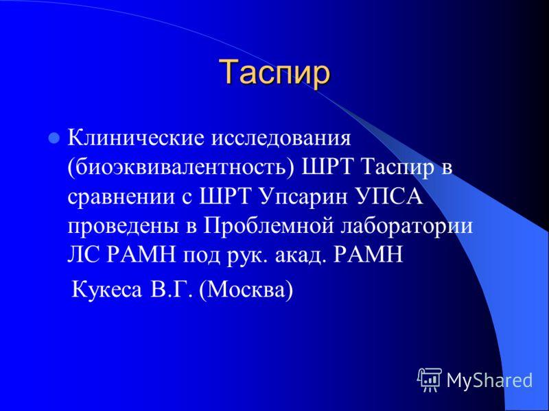 Таспир Клинические исследования (биоэквивалентность) ШРТ Таспир в сравнении с ШРТ Упсарин УПСА проведены в Проблемной лаборатории ЛС РАМН под рук. акад. РАМН Кукеса В.Г. (Москва)