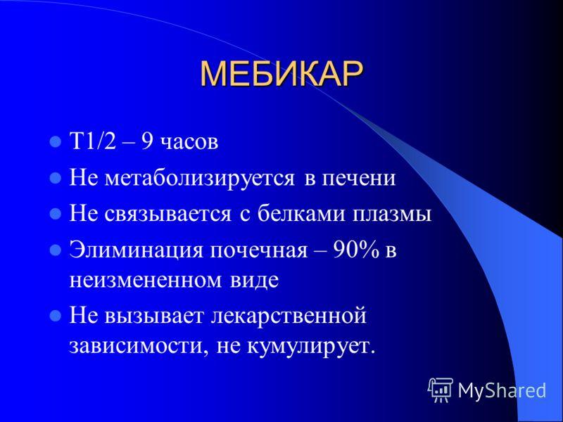 МЕБИКАР Т1/2 – 9 часов Не метаболизируется в печени Не связывается с белками плазмы Элиминация почечная – 90% в неизмененном виде Не вызывает лекарственной зависимости, не кумулирует.