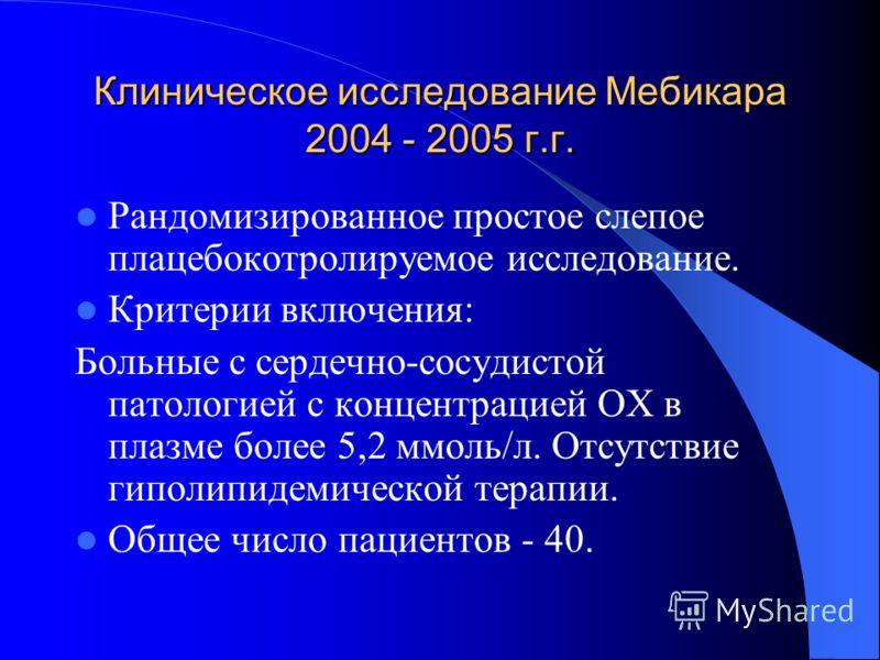 Клиническое исследование Мебикара 2004 - 2005 г.г. Рандомизированное простое слепое плацебокотролируемое исследование. Критерии включения: Больные с сердечно-сосудистой патологией с концентрацией ОХ в плазме более 5,2 ммоль/л. Отсутствие гиполипидеми
