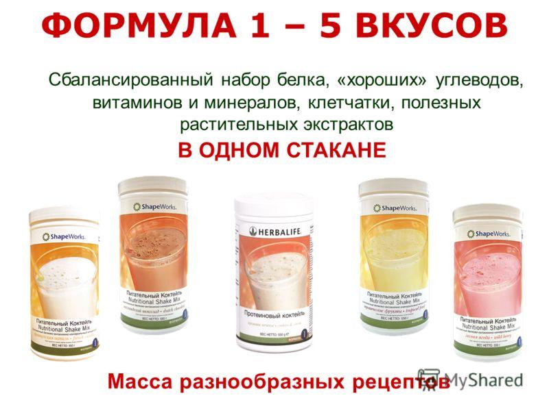 Сбалансированный набор белка, «хороших» углеводов, витаминов и минералов, клетчатки, полезных растительных экстрактов В ОДНОМ СТАКАНЕ Масса разнообразных рецептов ФОРМУЛА 1 – 5 ВКУСОВ