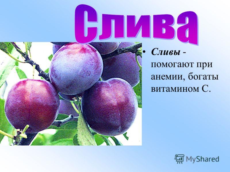 Сливы - помогают при анемии, богаты витамином С.