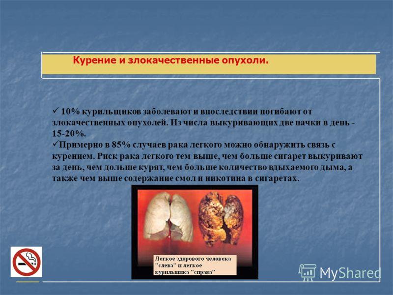 Курение и злокачественные опухоли. 10% курильщиков заболевают и впоследствии погибают от злокачественных опухолей. Из числа выкуривающих две пачки в день - 15-20%. Примерно в 85% случаев рака легкого можно обнаружить связь с курением. Риск рака легко