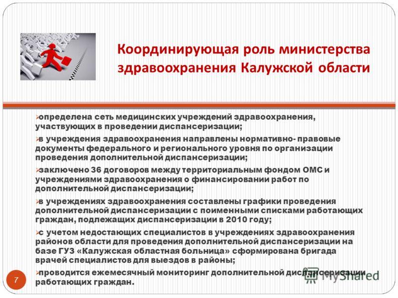 Координирующая роль министерства здравоохранения Калужской области определена сеть медицинских учреждений здравоохранения, участвующих в проведении диспансеризации; в учреждения здравоохранения направлены нормативно- правовые документы федерального и