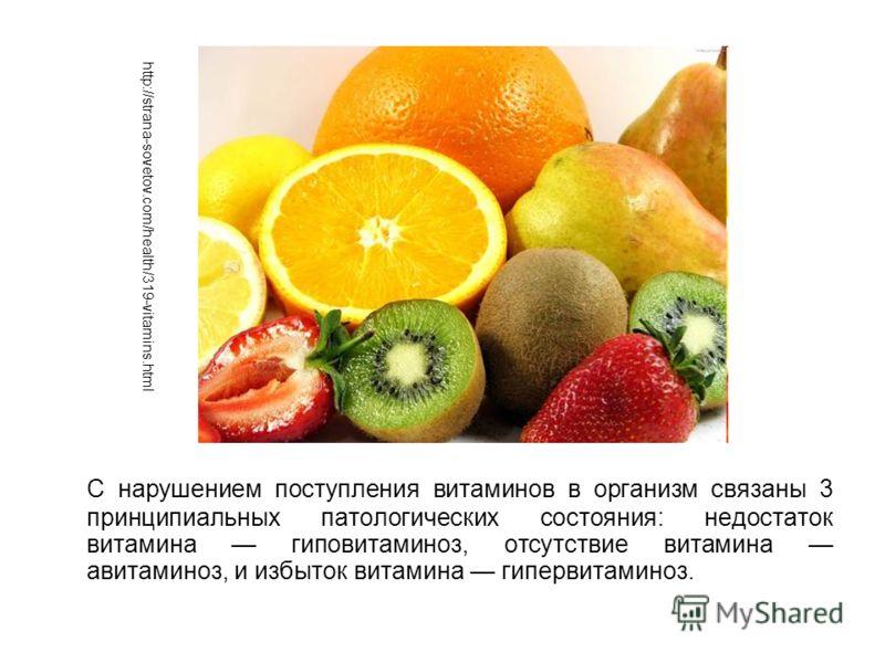С нарушением поступления витаминов в организм связаны 3 принципиальных патологических состояния: недостаток витамина гиповитаминоз, отсутствие витамина авитаминоз, и избыток витамина гипервитаминоз. http://strana-sovetov.com/health/319-vitamins.html