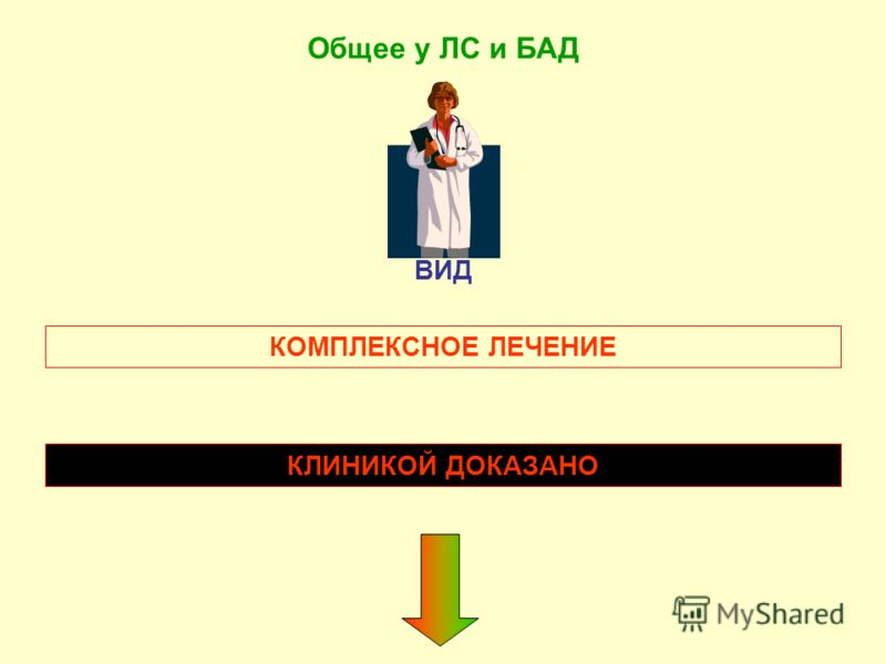 ВИД Общее у ЛС и БАД КОМПЛЕКСНОЕ ЛЕЧЕНИЕ КЛИНИКОЙ ДОКАЗАНО