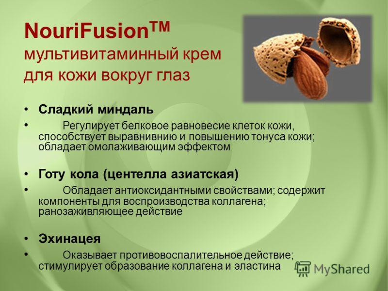 Сладкий миндаль Регулирует белковое равновесие клеток кожи, способствует выравнивнию и повышению тонуса кожи; обладает омолаживающим эффектом Готу кола (центелла азиатская) Обладает антиоксидантными свойствами; содержит компоненты для воспроизводства
