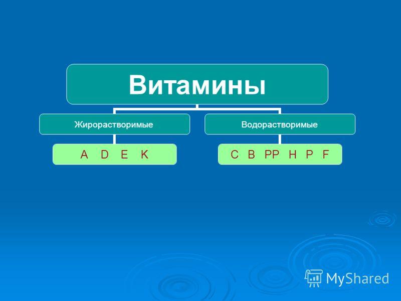 Витамины Жирорастворимые A D E K Водорастворимые C B PP H P F