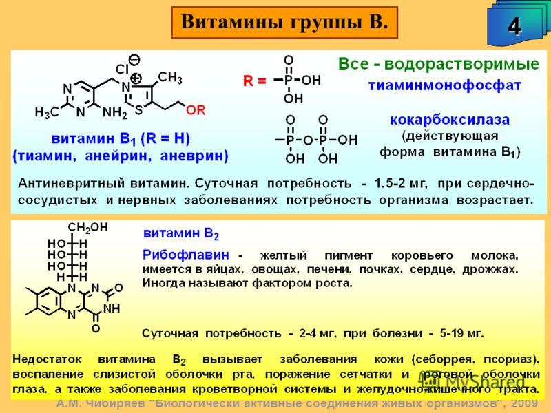 А.М. Чибиряев Биологически активные соединения живых организмов, 2009 4 Витамины группы В.