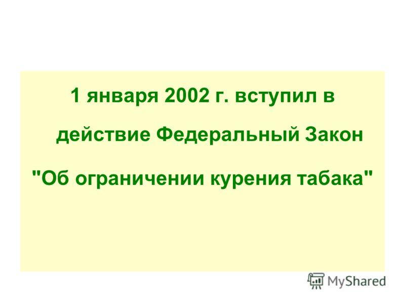 1 января 2002 г. вступил в действие Федеральный Закон Об ограничении курения табака