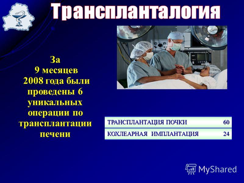 За 9 месяцев 2008 года были проведены 6 уникальных операции по трансплантации печени ТРАНСПЛАНТАЦИЯ ПОЧКИ 60 КОХЛЕАРНАЯ ИМПЛАНТАЦИЯ 24