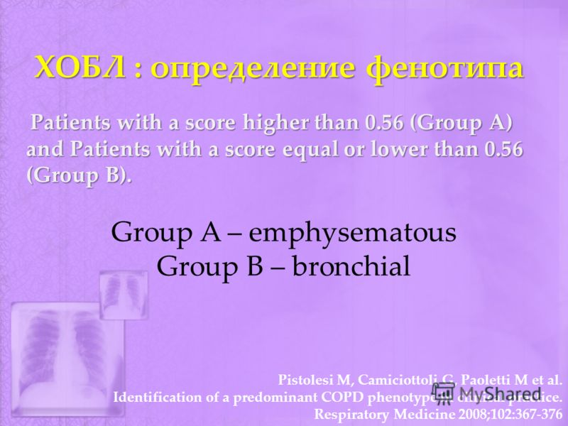 ХОБЛ : определение фенотипа Patients with a score higher than 0.56 (Group A) and Patients with a score equal or lower than 0.56 (Group B). Group A – emphysematous Group B – bronchial Pistolesi M, Camiciottoli G, Paoletti M et al. Identification of a