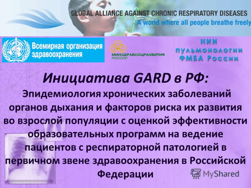Инициатива GARD в РФ: Эпидемиология хронических заболеваний органов дыхания и факторов риска их развития во взрослой популяции с оценкой эффективности образовательных программ на ведение пациентов с респираторной патологией в первичном звене здравоох